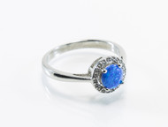 Round Lab Created Opal with Micro Pave Cubic Zirconia Design