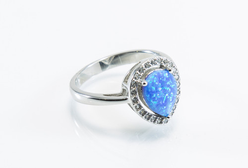 Pear-Shaped Blue Lab Created Opal with Micro Pave Design