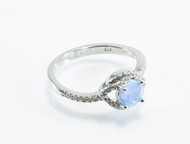 Eye-Shaped Micro Pave Design Over Blue Lab Created Opal