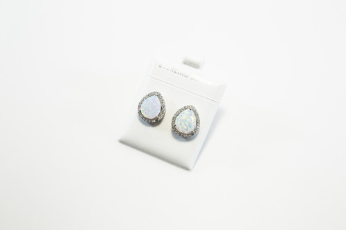 Teardrop Lab Created Opals Surrounded by Cubic Zirconias