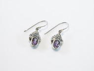 Genuine Oval-Shaped Amethyst with Balinese Scroll Work Above
