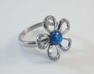 Blue Lab Created Opal and Micro Pave Cubic Zirconia