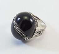 Front View of Black Onyx Cabochon