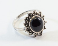 Black Onyx Cabochon and Swiss Cut Marcasites