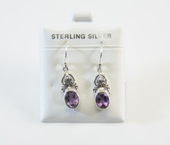Genuine Oval-Shaped Amethyst Earrings with Traditional Balinese Design