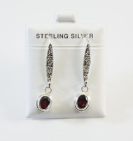 Dangling Earrings with Traditional Balinese Design and Genuine Oval-Cut Garnet Gemstones
