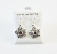 Dangling Flower Style Earring with Genuine Garnet Gemstones