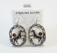 Balinese Garnet Earrings with Horse Design