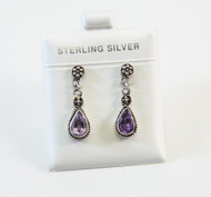 Genuine Pear-Shaped Amethyst with Balinese Filigree Design