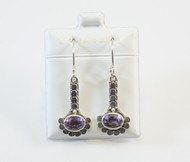 Granulated Silver Dots and Genuine Oval-Shaped Amethysts