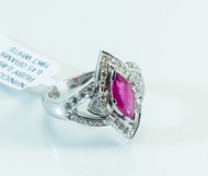 14 KT White Gold Marquise Cut Ruby, and Micro Pave Diamonds