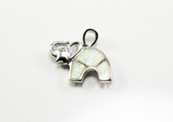 White Lab Created Opal Elephant