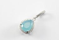 Teardrop Chalcedony and Micro Pave Pendant