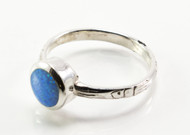 Round Dot Light Blue Lab Opal Ring