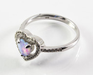 Light Blue Lab Opal Heart Ring