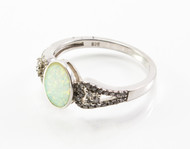 Oval-Shaped White Lab Opal and Micro Pave Ring