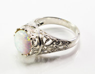 Round White Lab Created Opal and Filigree Ring