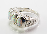 3 Stone White Lab Created Opal Ring