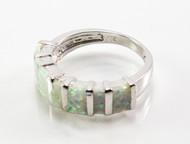 Rectangular-Set White Lab Created Opal Ring