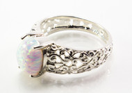 Oval-Shaped White Lab Created Opal with Filigree
