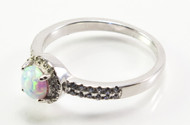 Round-Shaped White Lab Created Opal Ring with Micro Pave CZ