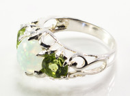 Oval-Shaped White Lab Created Opal and Peridot Ring