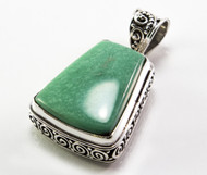 American Turquoise with Balinese Scroll Pattern Pendant