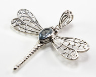 Large Silver Dragonfly Balinese Pendant with Pear-Shaped Blue Topaz