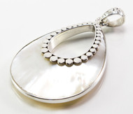 Oval Shaped Mother of Pearl Pendant with Granulated Dots