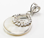 Round Mother of Pearl Pendant w/ Filigree and Dots