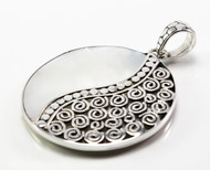 Round Mother of Pearl Pendant w/ Scroll and Dots