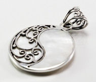 Round Mother of Pearl Pendant w/ Wavy Filigree