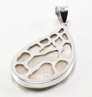 Teardrop-Shaped MOP Pendant w/ Silver Web Design