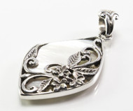 Diamond-Shaped MOP Pendant w/ Flower + Filigree