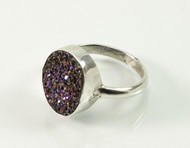 Oval-Shaped Druzy Quartz Balinese Ring