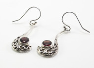 Round-Shaped Garnet and Curvy Balinese Filigree Earrings