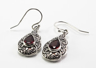 Pear-Shaped Garnet and Filigree Balinese Dangling Earrings