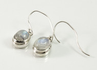 Dangling Oval-Shaped Balinese Moonstone Earrings
