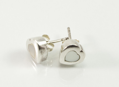 Balinese Mother of Pearl Heart Shaped Studs