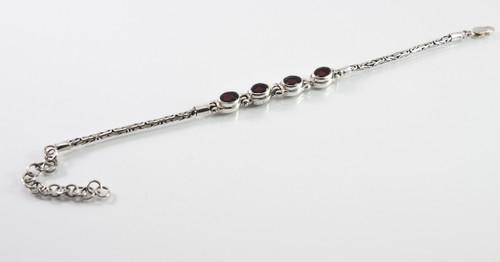 Oval-Shaped Garnet Borobudur Balinese Bracelet