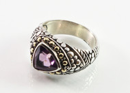 Balinese Trilliant Cut Amethyst Ring  w/ 18KT Gold Dots