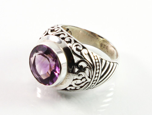 Balinese Round Shaped Amethyst Ring w/ Filigree