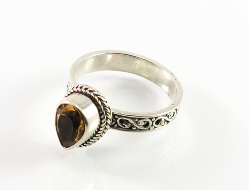 Balinese Pear-Shaped Citrine Ring w/ Filigree Band