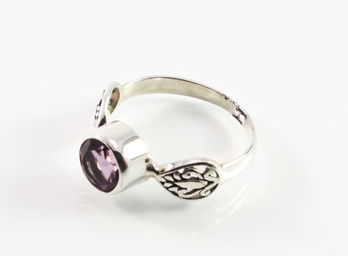 Balinese Round-Shaped Amethyst Ring w/ Filigree