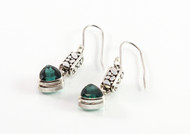 Balinese Trilliant Cut Green Quartz Earrings