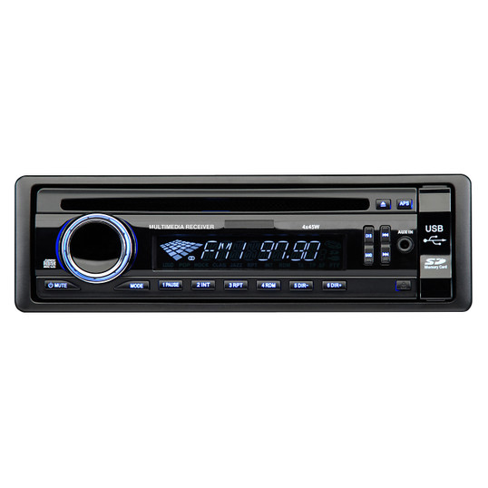 Magnadyne M2500CD   AM/FM/CD In-Dash Single DIN Receiver 180 Watts Front SD/USB/AUX Input Ports - Front View