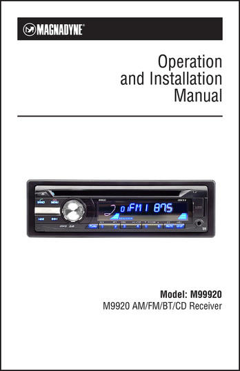 Magnadyne M9920 | Operation & Installation Manual