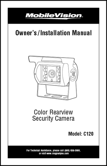 MobileVision C120   Owner's/Installation Manual
