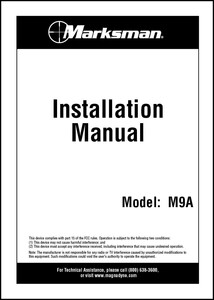 Marksman M9A | Installation Manual