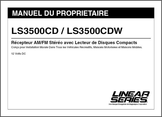 Linear Series LS3500CD/LS3500CDW | MANUEL DU PROPRIETAIRE
